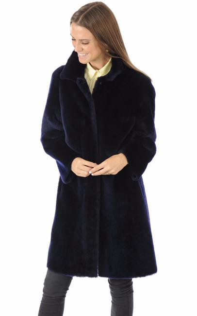 Manteau mérinos réversible bleu foncé La Canadienne