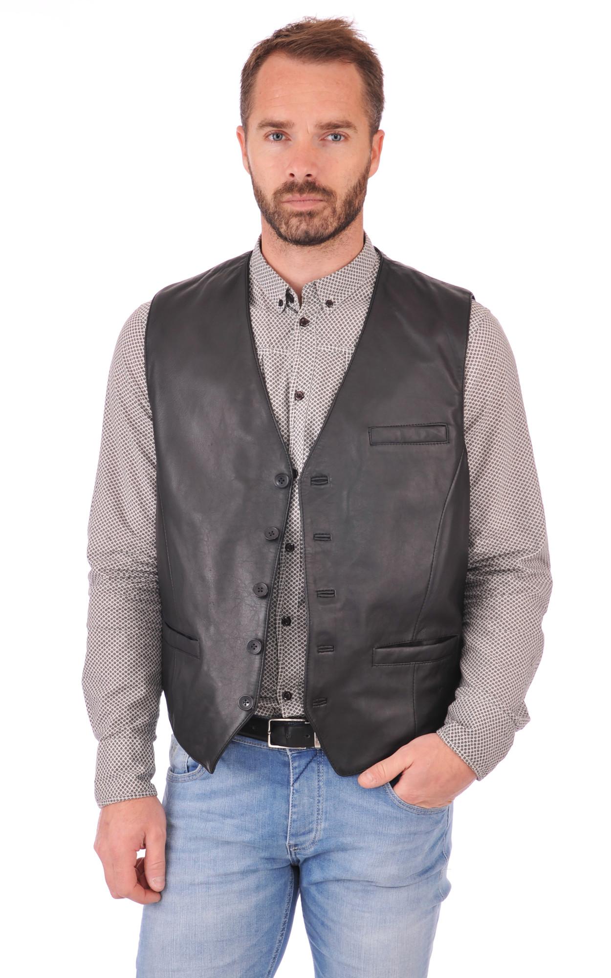Veste cuir sans manche pour homme