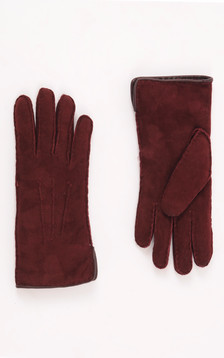Gants Mouton Velours Bordeaux