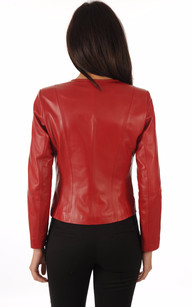 Spencer en Cuir Agneau Rouge