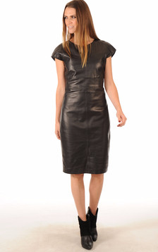 Robe Coupe Confort Cuir Noir Femme