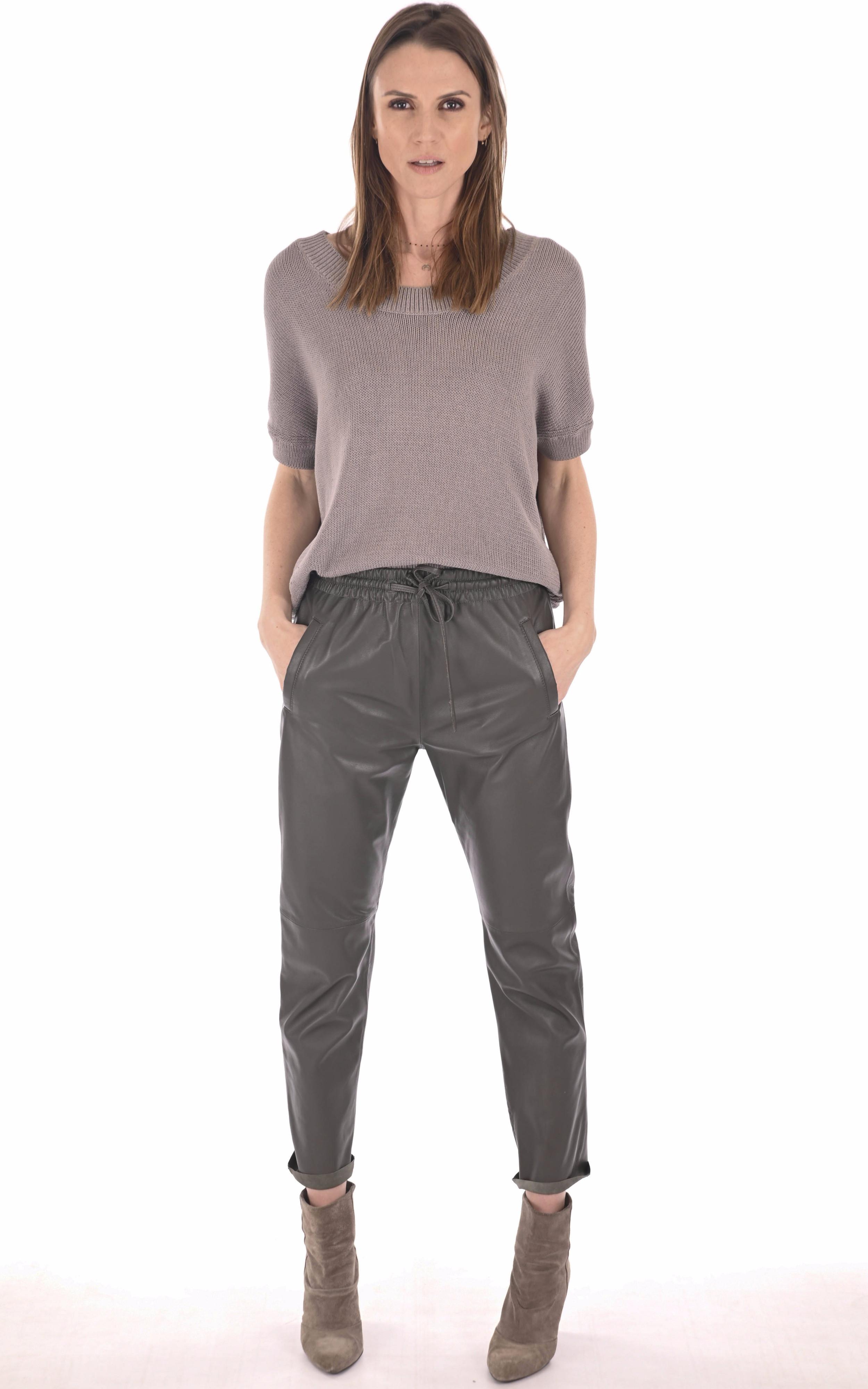 Pantalon jogpant cuir kaki Oakwood