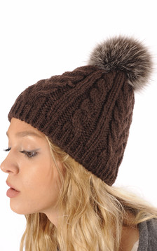 Bonnet Laine & Pompon Fourrure Marron