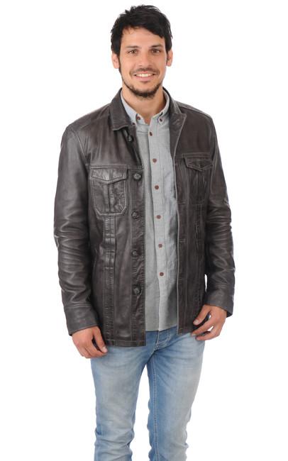 veste grise cuir homme oakwood la canadienne veste 3. Black Bedroom Furniture Sets. Home Design Ideas