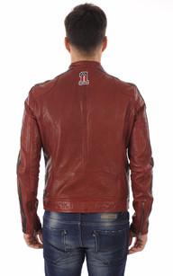 Blouson Cuir Rouge Style Motard