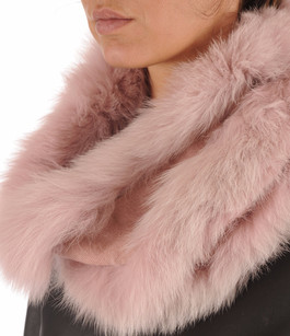 Snood Fourrure de Renard Rose Giovi