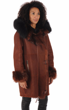 Manteau peau lainée Xenia bordeaux1