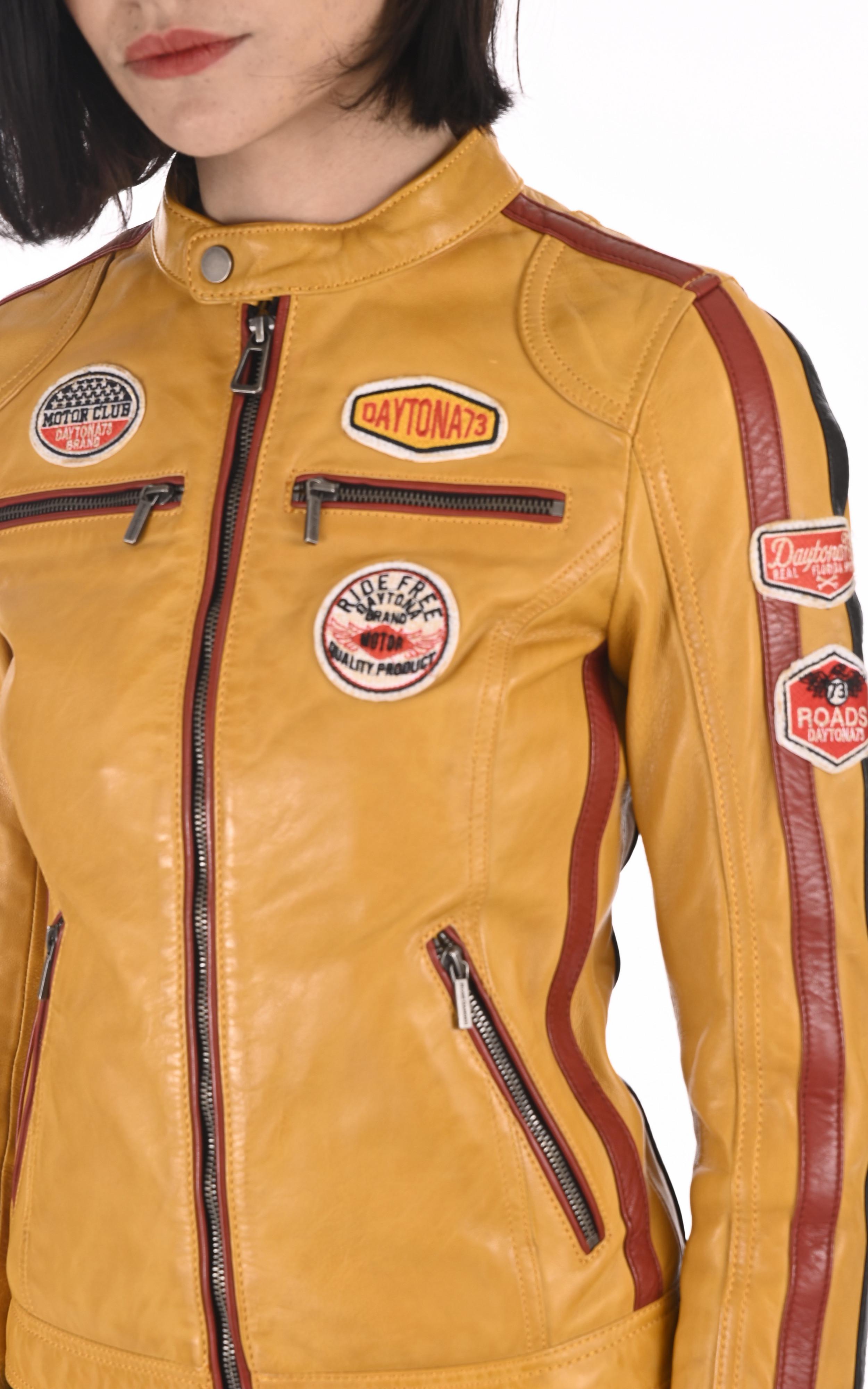 Blouson motard  Olivera jaune Daytona 73