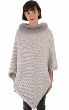 Poncho laine et renard gris clair1