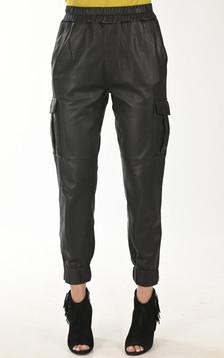 Pantalon Cargo cuir noir