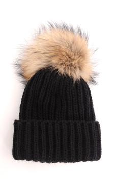 Bonnet avec Pompon en Raccoon Naturel1