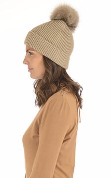 Bonnet en laine et cachemire sable