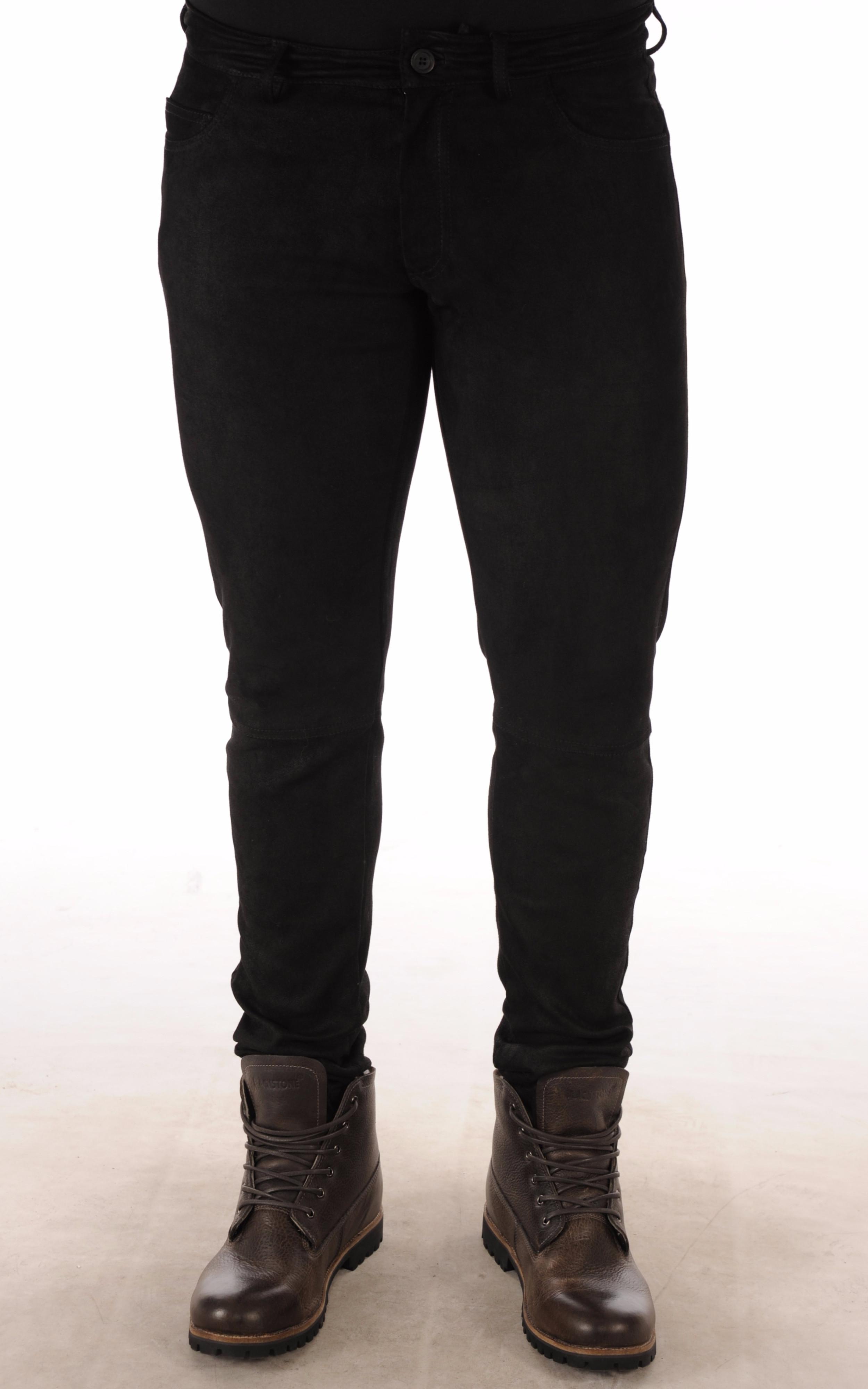 0f1f057b1340 Pantalon Cuir Agneau Velours Stretch Noir La Canadienne - La ...