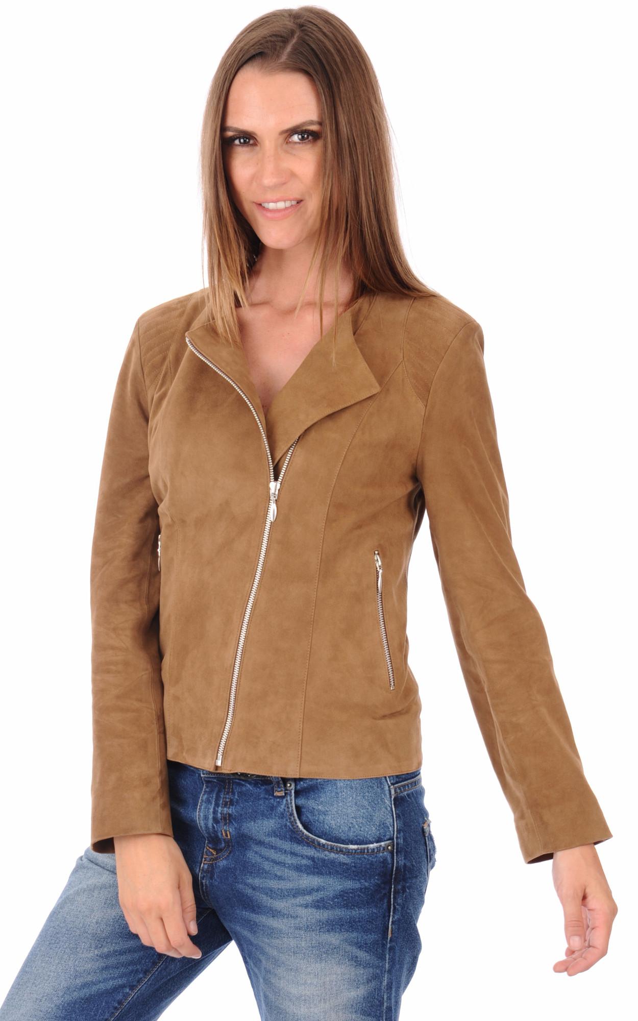 veste trois quart en daim femme les vestes la mode sont populaires partout dans le monde. Black Bedroom Furniture Sets. Home Design Ideas