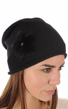 Bonnet Noir Laine & Vison