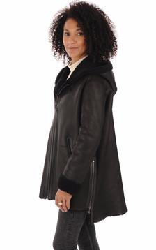 Manteau peau lainée Eden noir