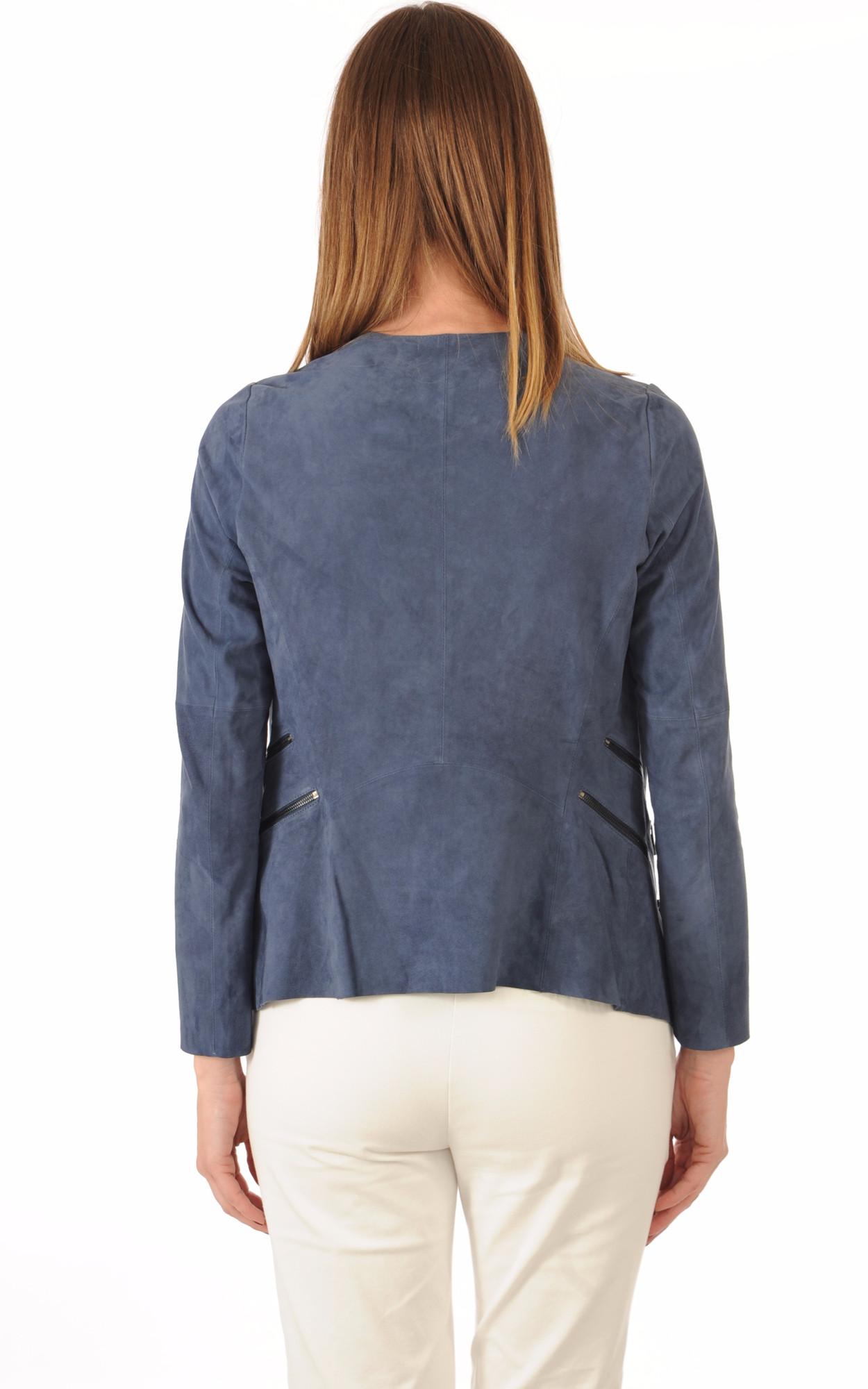 Veste Cuir Velours Bleu
