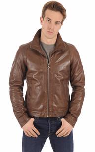 veste cuir brun homme