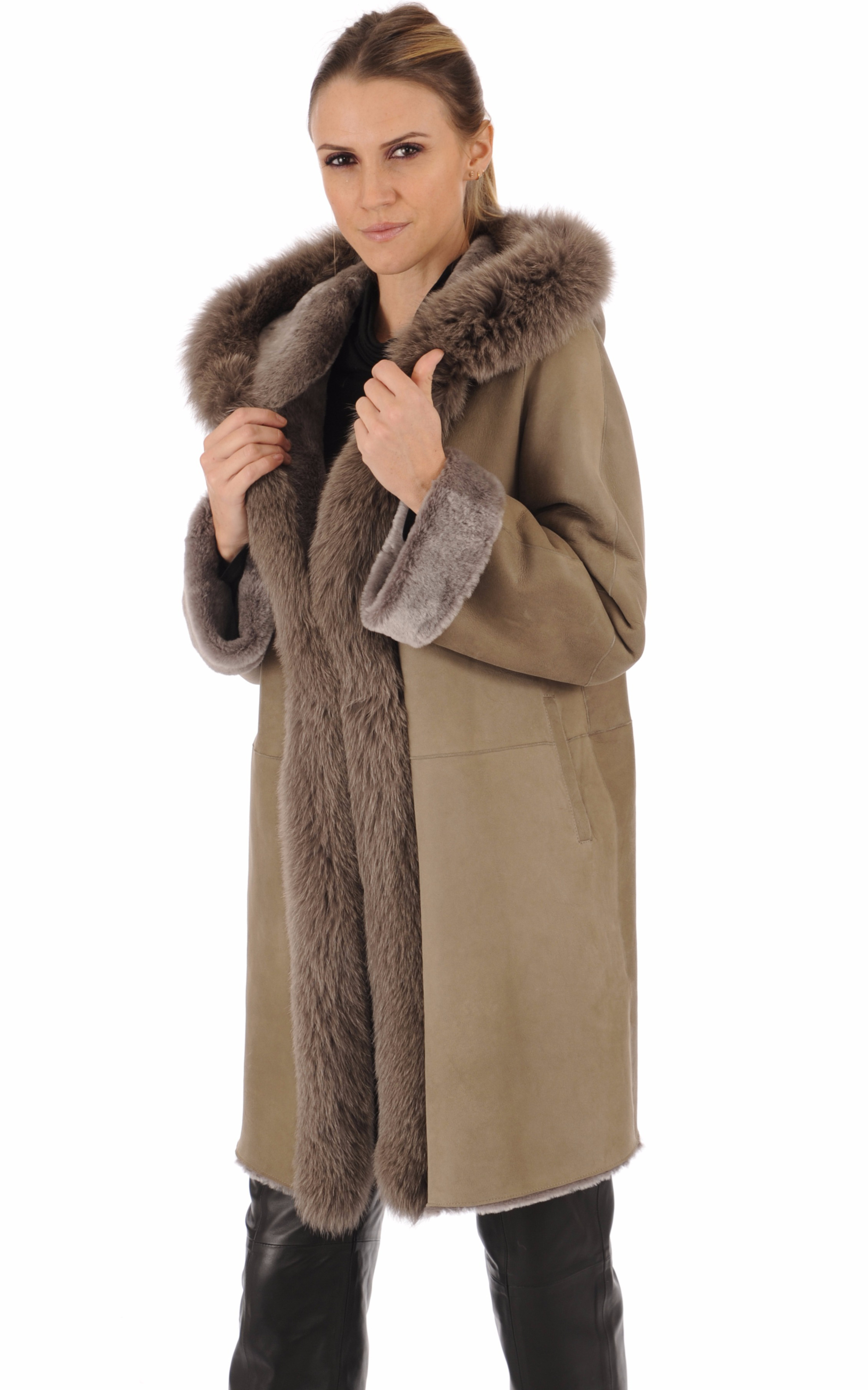 Manteau agneau et renard taupe La Canadienne