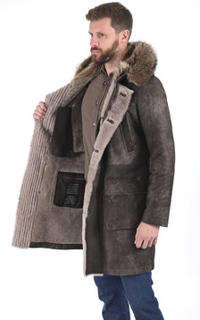 Manteau en laine d'agneau et marmotte taupe