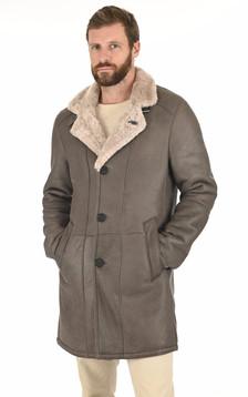 Manteau peau lainée gris