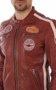 Blouson Cuir Rouge Style Motard Daytona 73