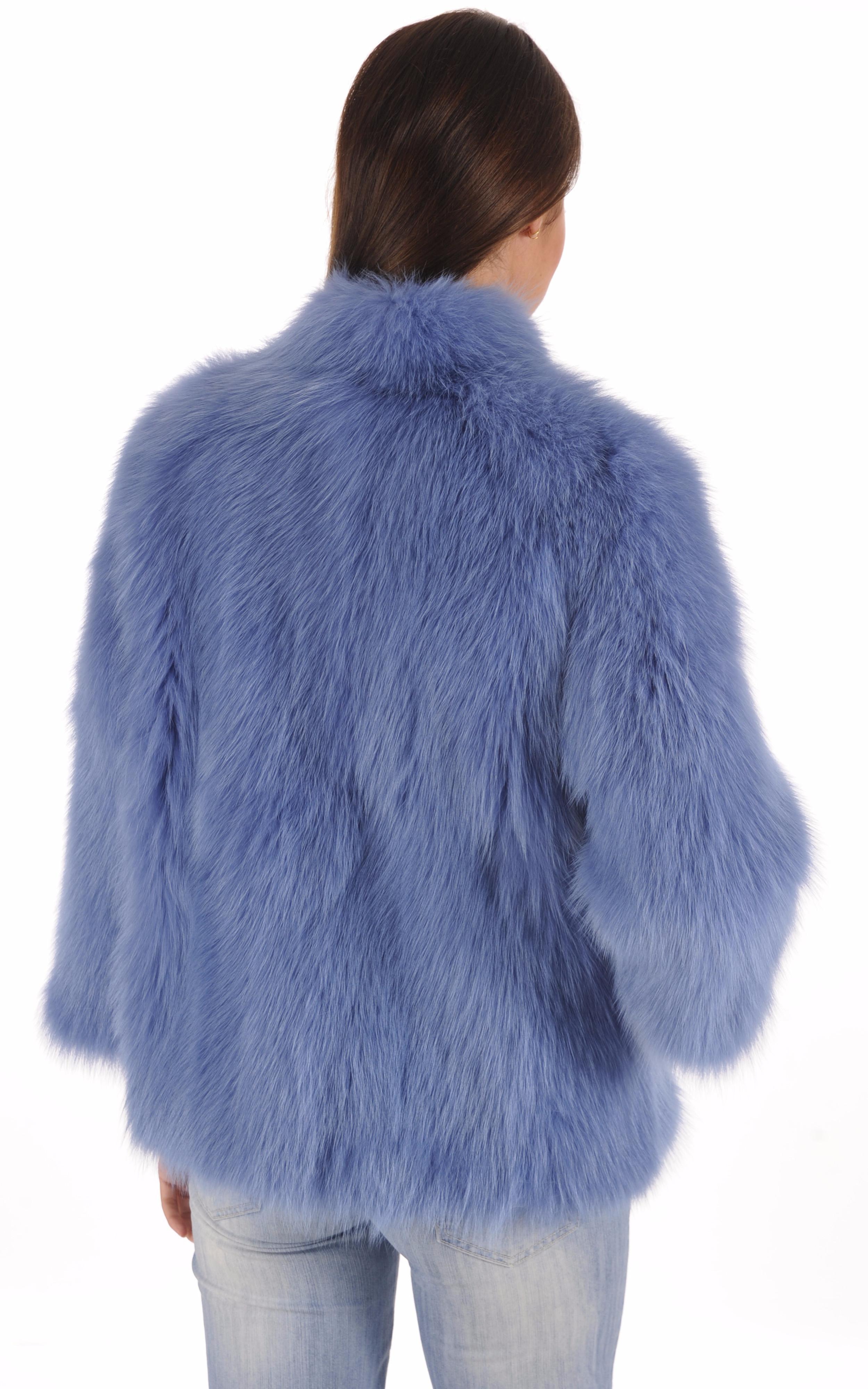 Veste Fourrure Renard Bleue Giovi
