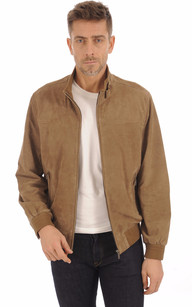 Blouson Cuir Velours Taupe Homme1