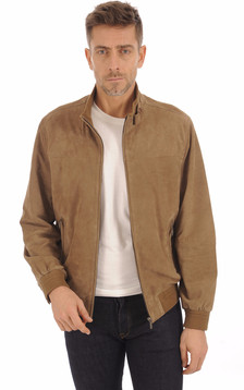 Blouson Cuir Velours Taupe1