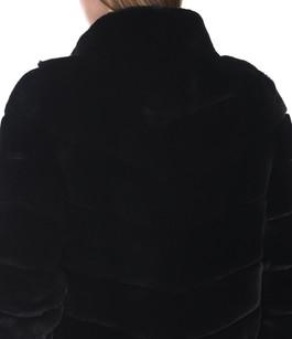 Veste réversible en fourrure rex noire Suprema