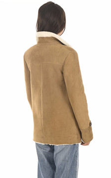 Veste peau lainée camel