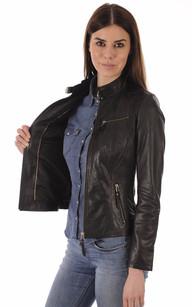 Veste cuir matelasse noire femme
