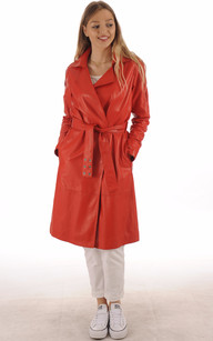 Trench Cuir Rouge Femme1