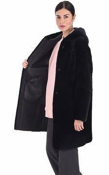 Manteau peau lainée mouton noir