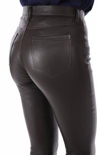 Pantalon Cuir Slim Marron La Canadienne