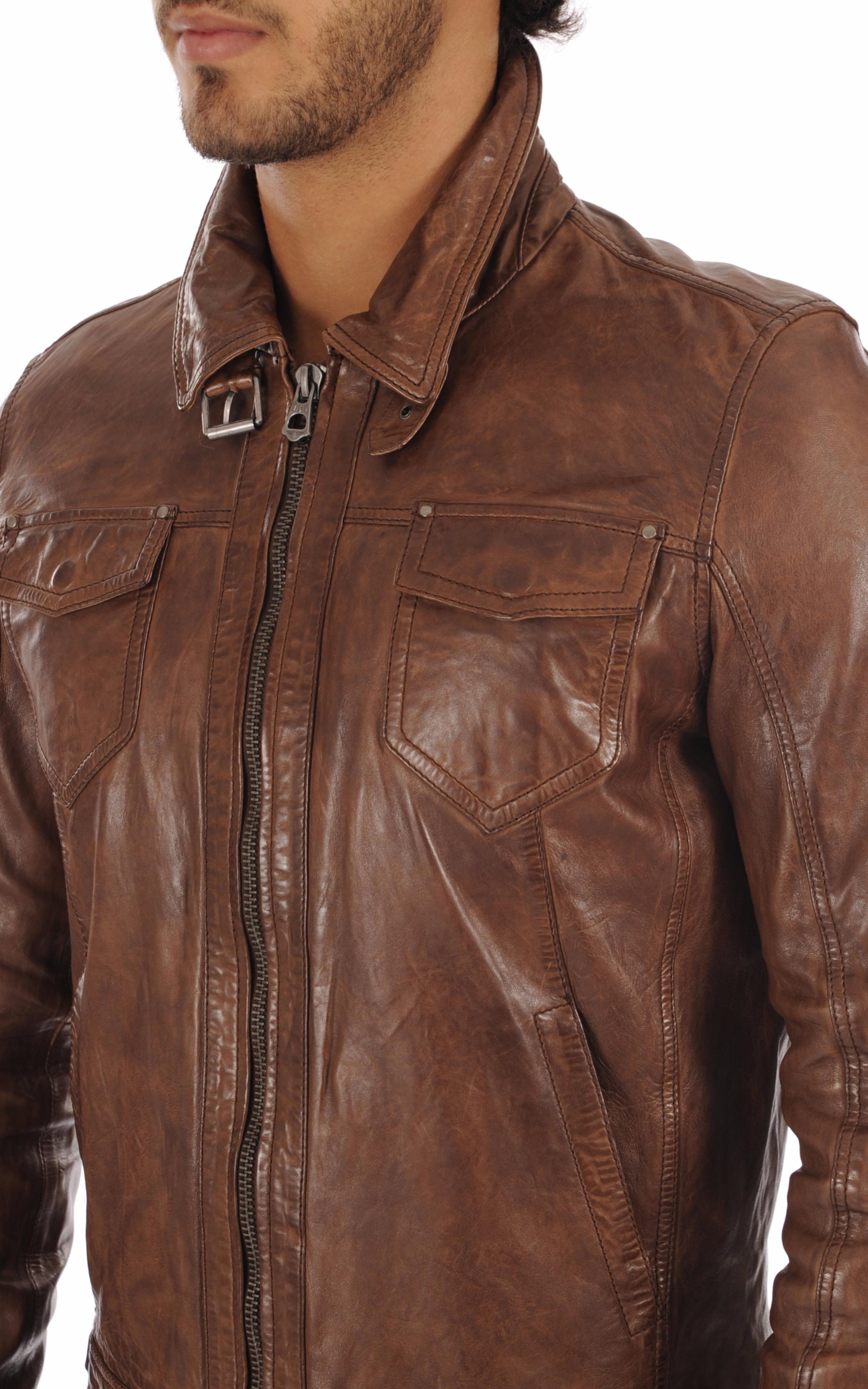 Blouson Cuir  Cognac Homme Daytona 73