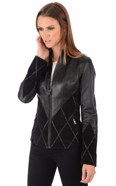 veste cuiret daim femme giorgio la canadienne veste 3 4 cuir noir. Black Bedroom Furniture Sets. Home Design Ideas