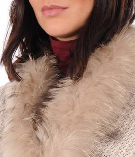 Maxi Echarpe Laine et Fourrure de Raccoon Femme Lea Clement