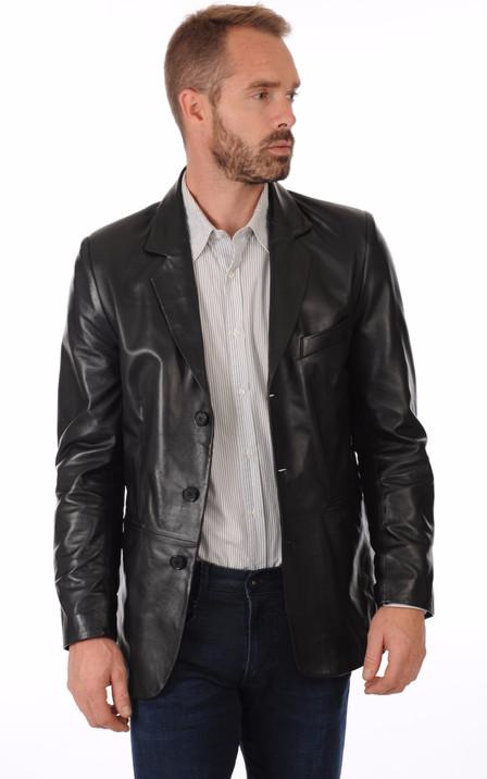 7a262d712c3 Blazer Cuir Noir Homme