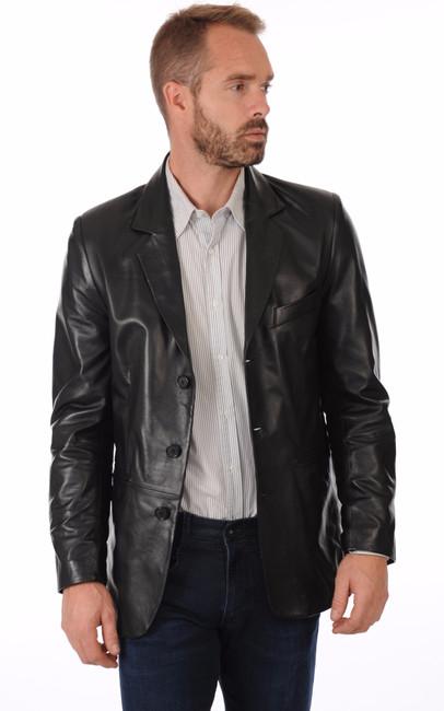blazer cuir noir homme la canadienne la canadienne. Black Bedroom Furniture Sets. Home Design Ideas
