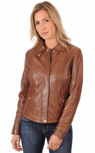 Blouson  Coupe Confortable Femme Cognac1
