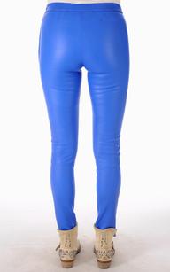 Leggings Cuir Bleu Electrique