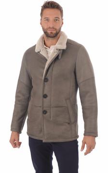 Veste peau lainé grise entrefino1