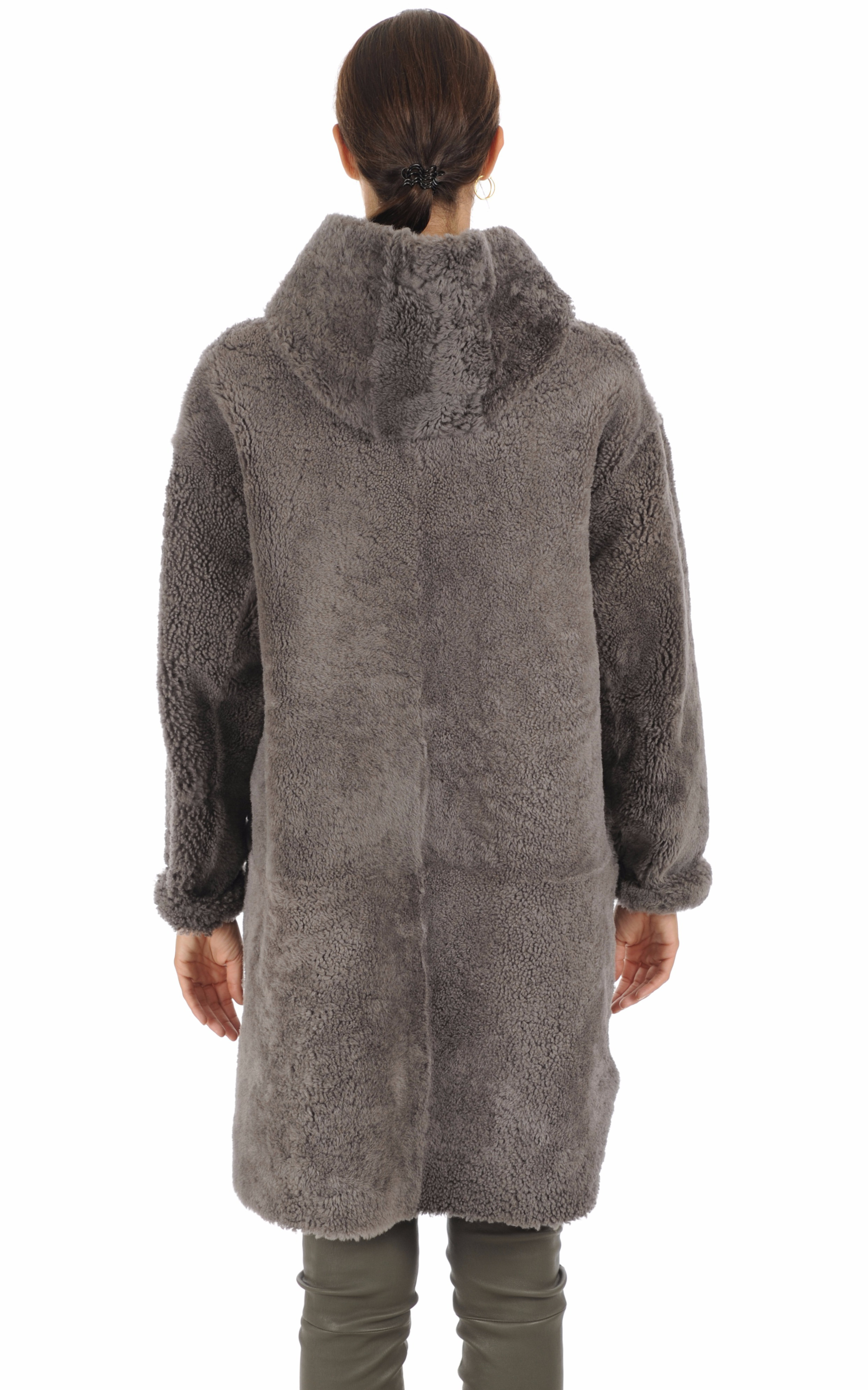 Peau lainée réversible gris foncé Anne Delaigle