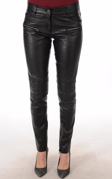 Pantalon Cuir noir Femme1