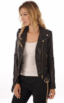 Blouson cuir Rock Girl gold1