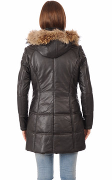 Parka Cuir Marron Bordée Fourrure