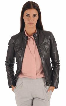 Blouson Cuir Style Motard Femme Noir1