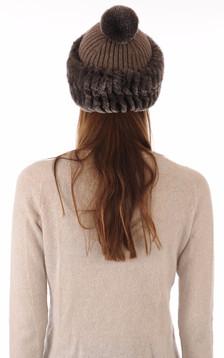 Bonnet laine et rex marron