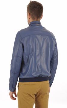 Blouson Cuir Bleu Homme
